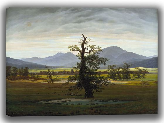 Friedrich, Caspar David: Village Landscape in Morning Light (The Lone Tree). Fine Art Canvas. Sizes: A4/A3/A2/A1 (003889)